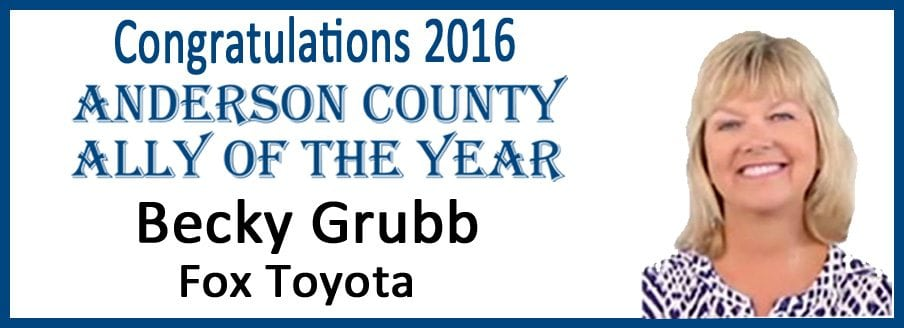 Becky Grubb Named the 2016 Anderson County Ally of the Year
